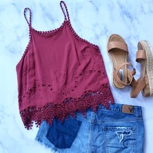 Kendall & Kylie PacSun Maroon Tank Top